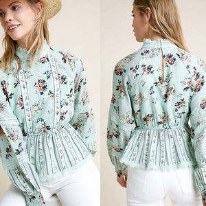 NWT $140 Anthropologie Amour Floral Lace Blouse S